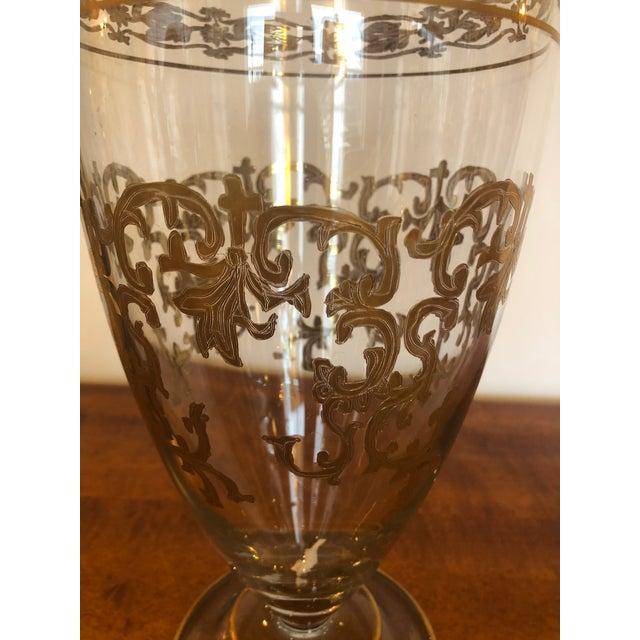 Victorian Vintage Gold Leaf Decorated Glass Vase For Sale - Image 3 of 9