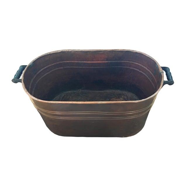 Vintage Copper Boiler Wash Tub Basin For Sale - Image 10 of 10