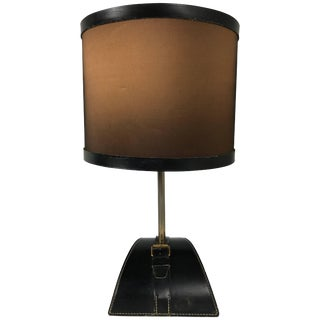 Stitched Leather Table Lamp by Jacques Adnet For Sale