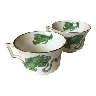 Mid 20th Century Wedgwood Chinese Tiger Tea Cups - a Pair For Sale
