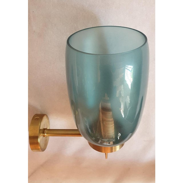 Blue Murano Glass Mid-Century Modern Sconces Attributed to Seguso - A Pair For Sale - Image 6 of 7