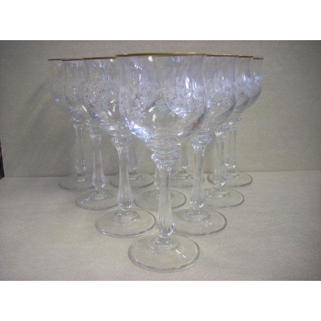 1980s Mikasa Gold Rim and Brocade Etching Crystal Wine Goblets - Set of 10 For Sale - Image 5 of 5