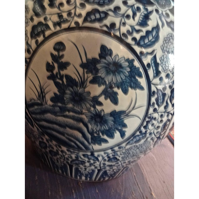 Asian Large Chinese Blue and White Fish Bowls / Planters - a Pair For Sale - Image 3 of 8