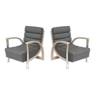 Pair of American Modern Cerused Oak and Chrome Eclipse Chairs, Jay Spectre For Sale