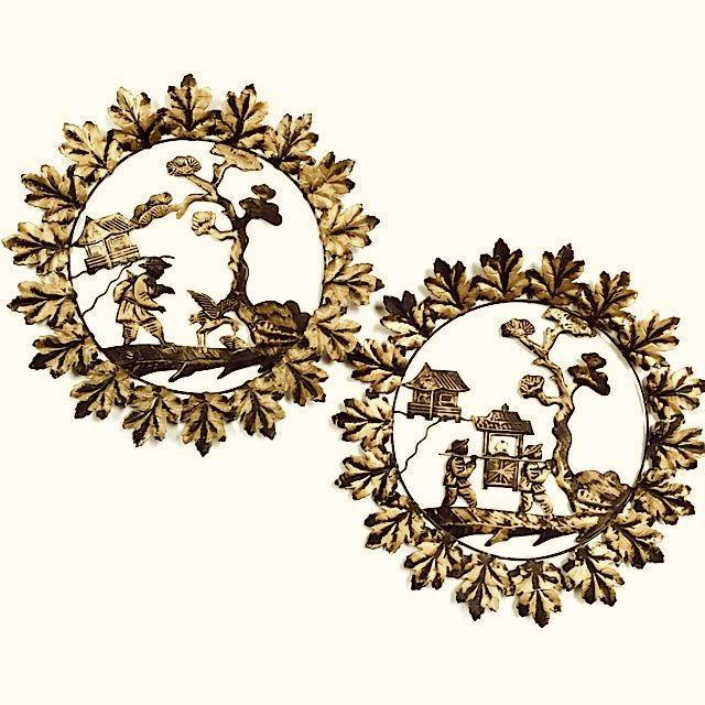 Pair of beautiful gold colored vintage tin Asian wall hangings. Great for bohemian or chinoiserie decor. Some minor...