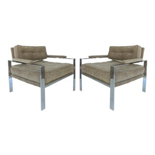 Harvey Probber Style Chrome Club Chairs - a Pair For Sale