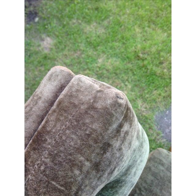 Mid-Century Green Velvet Swivel Chair - Image 6 of 10