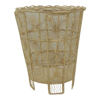 Vintage Italian Lace Style Wastebasket For Sale
