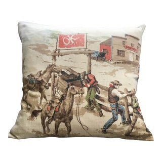 "1950s ""Ok Corral"" Barkcloth Pillow For Sale"