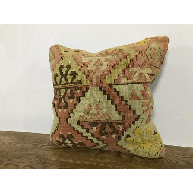 Boho Chic Vintage Turkish Anatolian Handmade Kilim Pillow Cover For Sale - Image 3 of 6