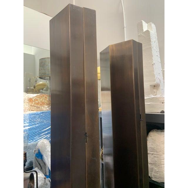 Mid-Century Modern Pair of Brass Hexagonal Floor Lamps For Sale - Image 3 of 5