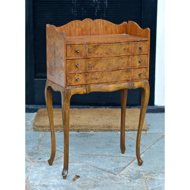 Italian Louis XV Style Three Drawer Burl Wood Nightstand / Cabinet For Sale - Image 13 of 13