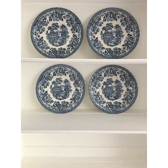 Asian Tonquin Pattern Plates Made by Churchill - Set of 4 For Sale - Image 3 of 6