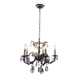 Vintage French Empire Brass Crystal & Tole Metal Chandelier For Sale