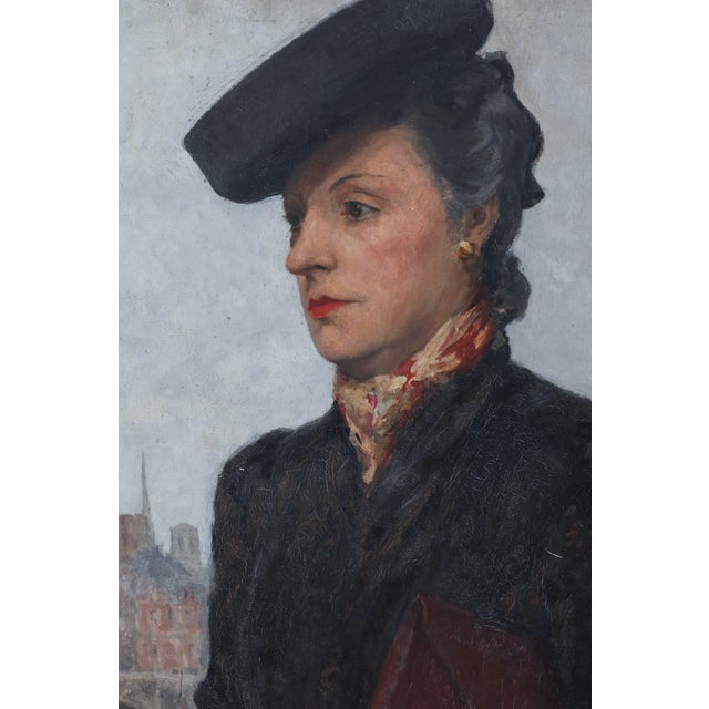 Portrait of Parisian Woman in Black Hat Painting by C.P. Bernardo For Sale - Image 4 of 7