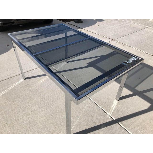 Metal Milo Baughman for Dia Chrome Smoke Glass Dining Table For Sale - Image 7 of 7