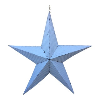 Large Vintage White Metal Handcrafted Amish Barn Star Made in America - 69""
