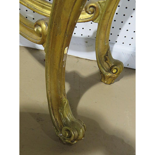 Wood Florentine Style Marble Top Console With Mirror For Sale - Image 7 of 12