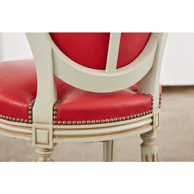 Set of Ten French Louis XVI Style Painted Dining Chairs For Sale - Image 10 of 13
