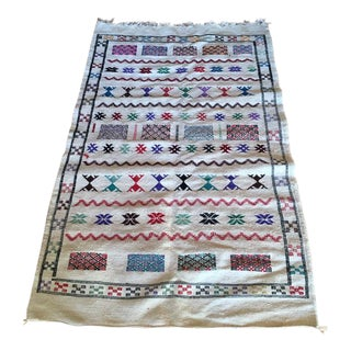 White Moroccan Patterned Rug - 3′5″ × 5′4″