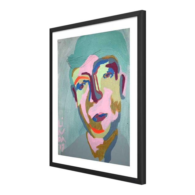 This abstract portrait is by contemporary artist Linda Ward of Detroit. This portrait is #119 out of a series of 500...