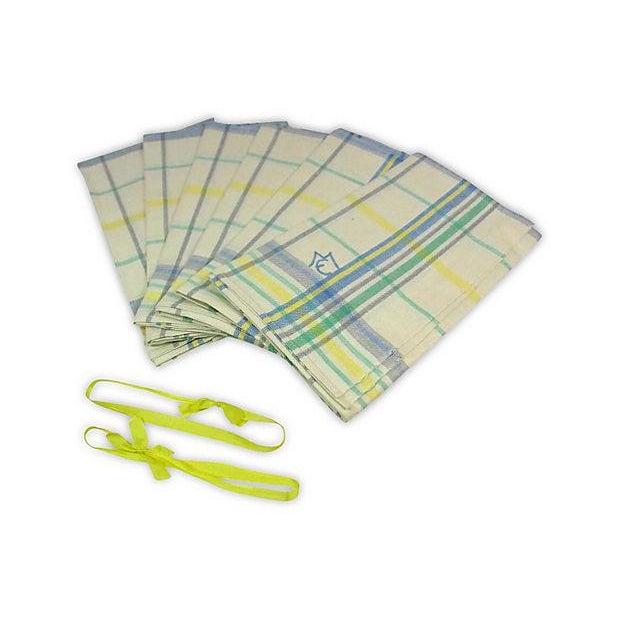 Blue Green Linen Monogrammed M/E Towels - Set of 6 - Image 4 of 4