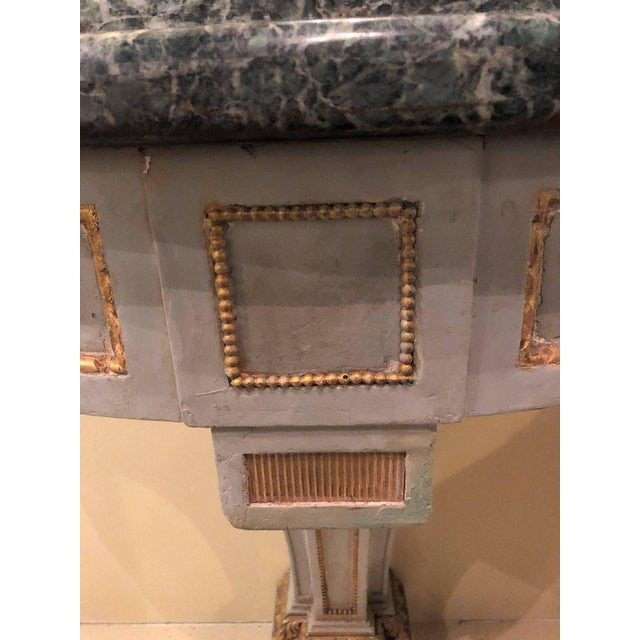 1940s Hollywood Regency Painted and Marble Demilune Consoles - a Pair For Sale - Image 5 of 12