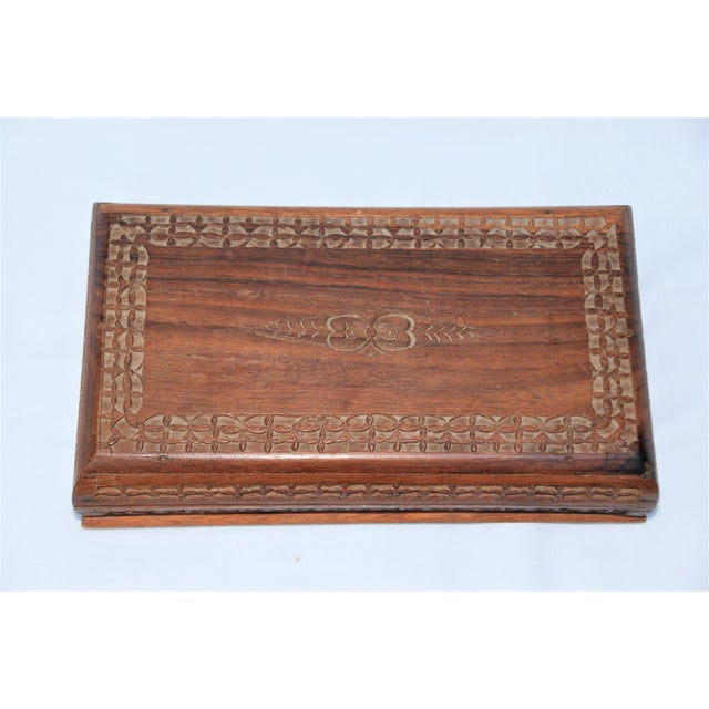 Boho Chic Vintage Carved Wooden Footed Jewelry Box For Sale - Image 3 of 10