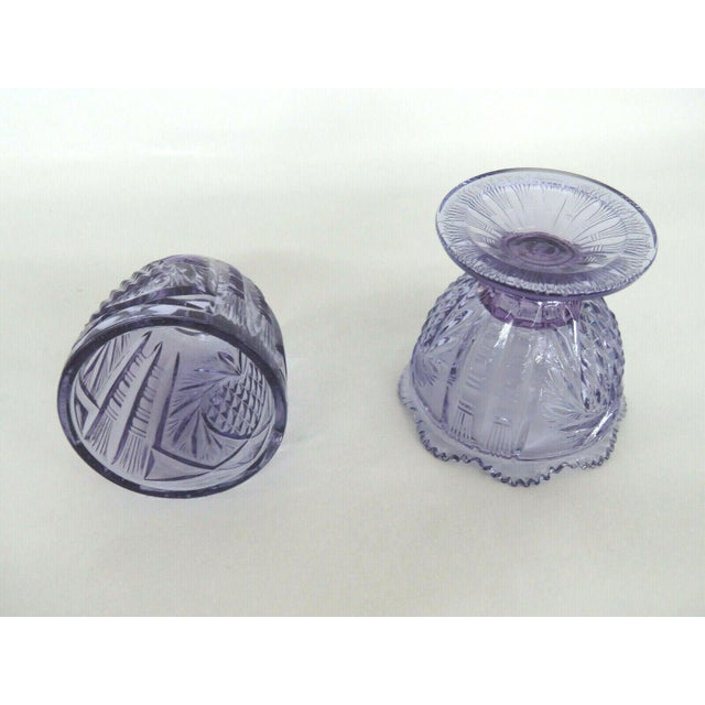 Fenton Wisteria New Heart Purple Glass Two Piece Fairy Lamp Candle Holder For Sale In Miami - Image 6 of 11
