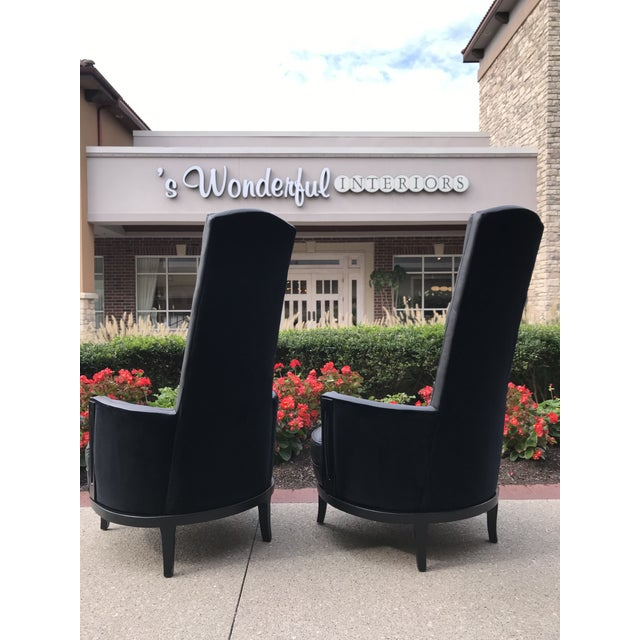 Mid-Century Modern Vintage Mid Century Modern Adrian Pearsall Gray Leather Tufted Black Velvet Occasional Chairs- a Pair Mid-Century Modern For Sale - Image 3 of 8
