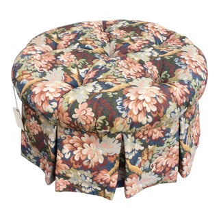1990s French Country Tufted Floral Tapestry Ottoman For Sale