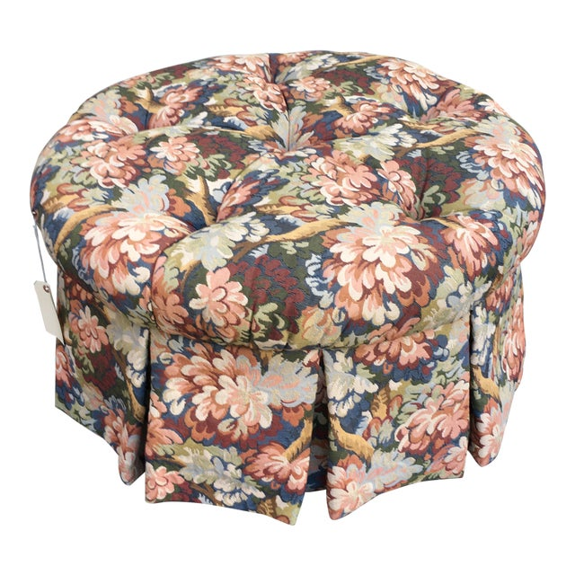 Incredible 1990S French Country Tufted Floral Tapestry Ottoman Machost Co Dining Chair Design Ideas Machostcouk
