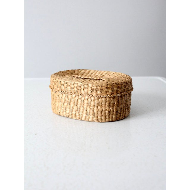 Contemporary Vintage Sweetgrass Basket For Sale - Image 3 of 9