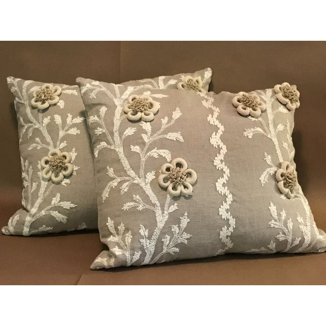 """White Swedish Brunschwig & Fils Pillows in """"Sea Vine"""" Wheat - a Pair For Sale - Image 8 of 10"""