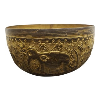 Early 20th Century Indian Repousse Brass Elephant/Lion Motifs Nut Bowl For Sale