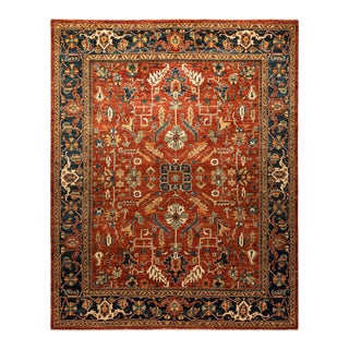 One-Of-A-Kind Oriental Serapi Hand-Knotted Area Rug, Crimson, 7' 9 X 9' 8 For Sale