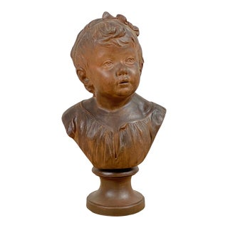 Antique Neoclassical Terra-Cotta Bust of Child With Bow Houdon Style Signed James Louis For Sale