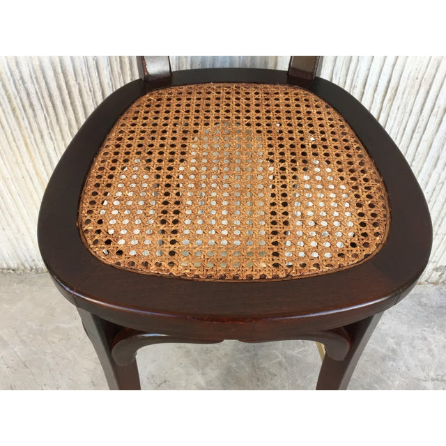 Set of Six Caned Seat and Wood Back Bar Stools For Sale - Image 10 of 13