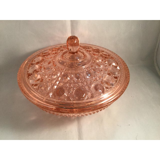 Vintage Peach Glass Dish For Sale - Image 9 of 10