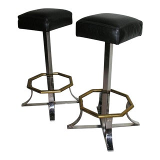 Maison Jansen Swivel Bar Stools - a Pair For Sale