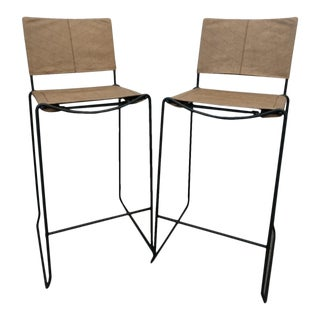 Modern Industrial Bar Stools With Vinyl - A Pair