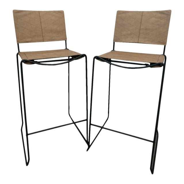 Modern Industrial Bar Stools With Vinyl - A Pair - Image 1 of 11