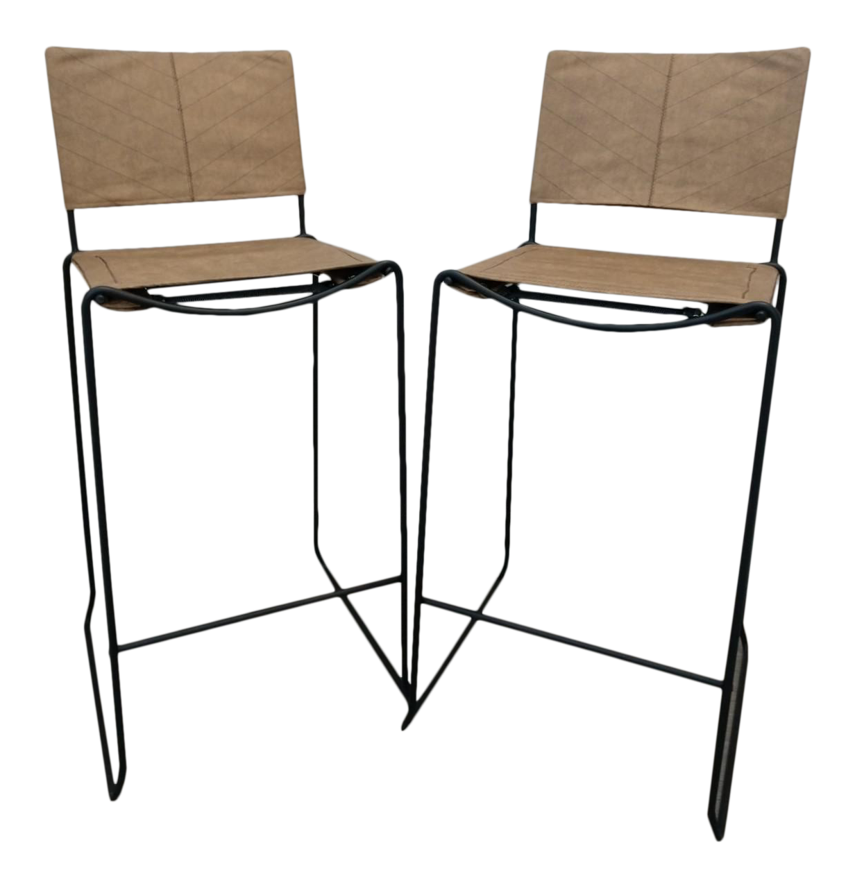Wonderful Modern Industrial Bar Stools With Vinyl   A Pair