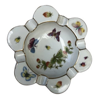 1950s Ardalt Flower Shaped Hand Painted Lenwile China Butterfly Ashtray For Sale
