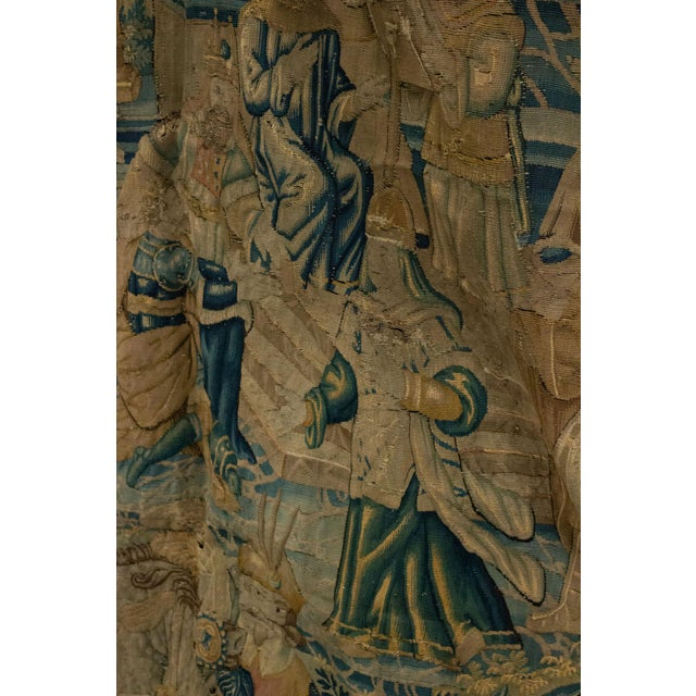 Textile Antique Late 17th/Early 18th Century Belgian Tapestry Depicting Soldiers in a Genre Scene For Sale - Image 7 of 8