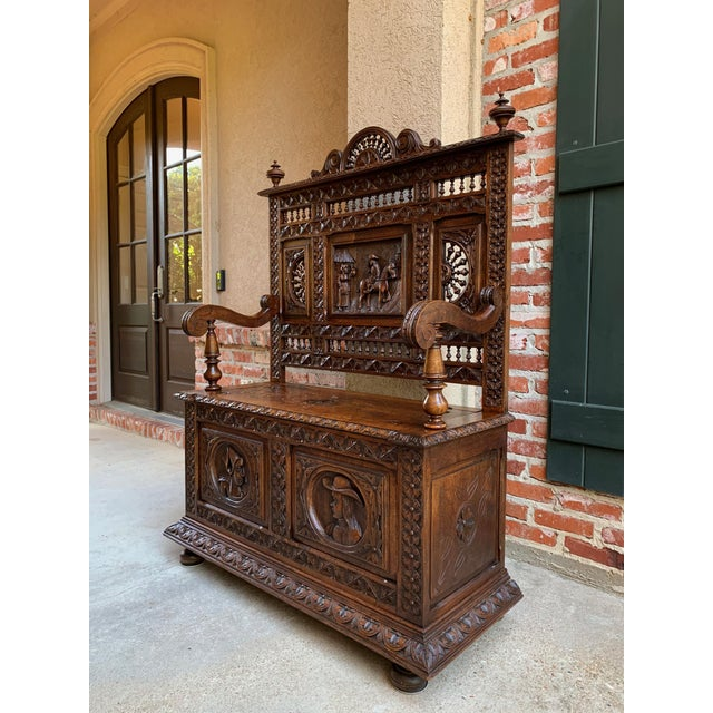 French Provincial 19th Century French Carved Oak Hall Bench Breton Brittany Pew Banquette For Sale - Image 3 of 13