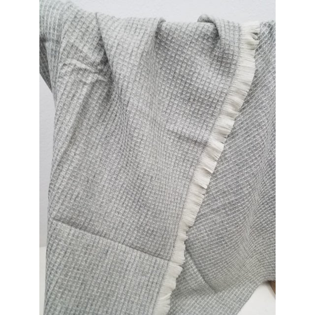 Wool Throw - Gray Waffle Weave Made in England For Sale In Dallas - Image 6 of 9