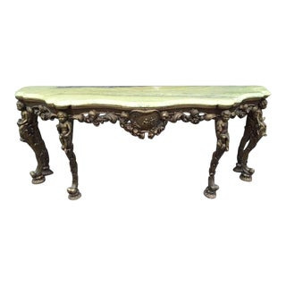 19th Century Italian Carved Wood Marble-Top Console w/ Puttis For Sale