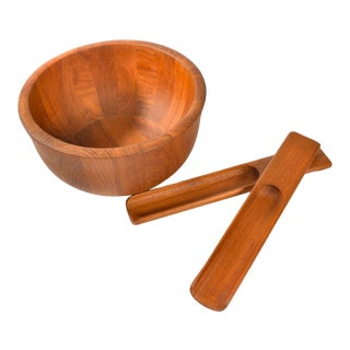 1970s Danish Modern Kitchen Dansk Teak Wood Bowl Wiht Tongs by Jens Quistgaard For Sale