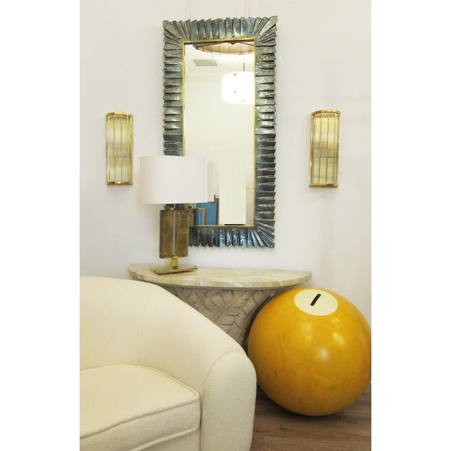 Large Rectangular Murano Sea Green Glass Framed Mirror For Sale In Miami - Image 6 of 7